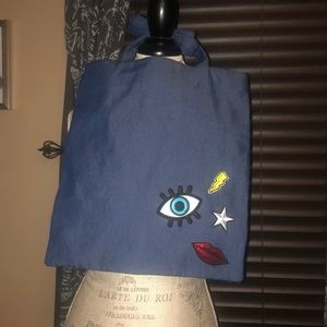 Clarins Chambray Tote with Embellishments new!